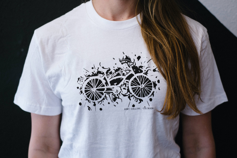 white slyce shirt with bicycle clipart
