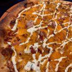 BBQ sauce w/ BBQ chicken, cheddar, bacon & ranch